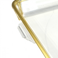 Square 4 Compartment Acrylic Snack Dish with Gold Border