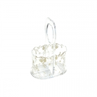 Acrylic Utensil Holder with Gold Lace Rose